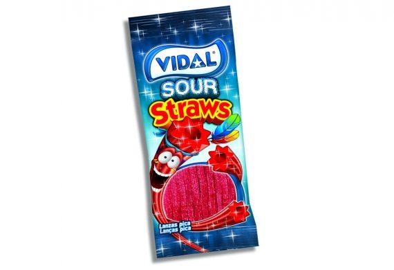 Vidal – Sour Strawberry Straws 100gr. 14st.